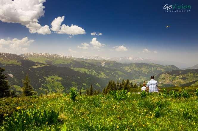 Klosters Schweiz Switzerland Mountain Alps Alpen Switzerland Ski Resort Landscape Landschaft Panorama Father Son
