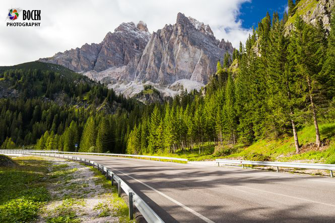View to road and Dolomites mountains, Italy, Europe