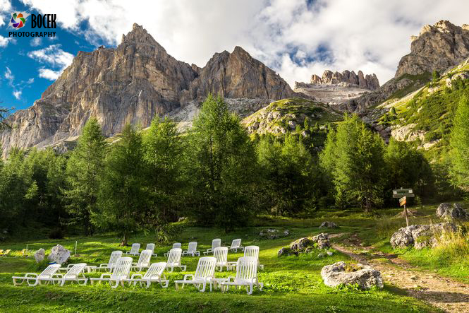 Magnificent valley with Cristallo mountain group near Cortina d'