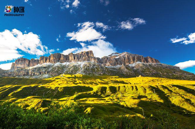 View to Sass Pordoi massive in Dolomites, Italy, Europe