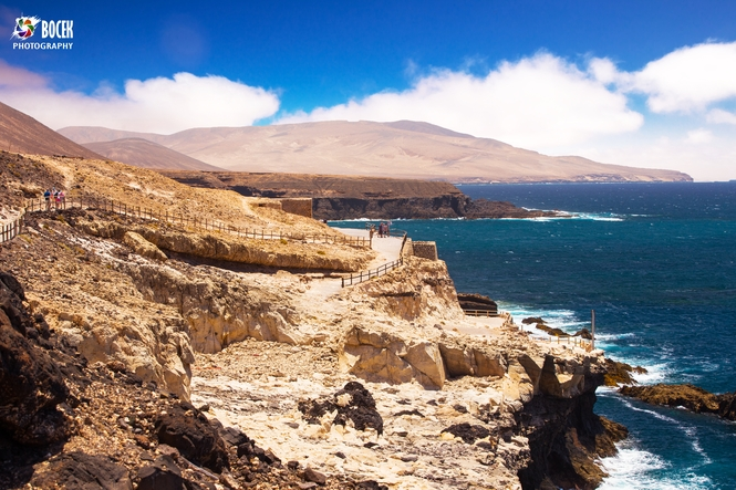 View to Ajuy coastline with vulcanic mountains on Fuerteventura