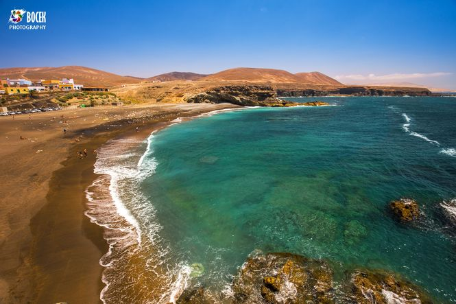 View to Ajuy beach with vulcanic mountains on Fuerteventura isla