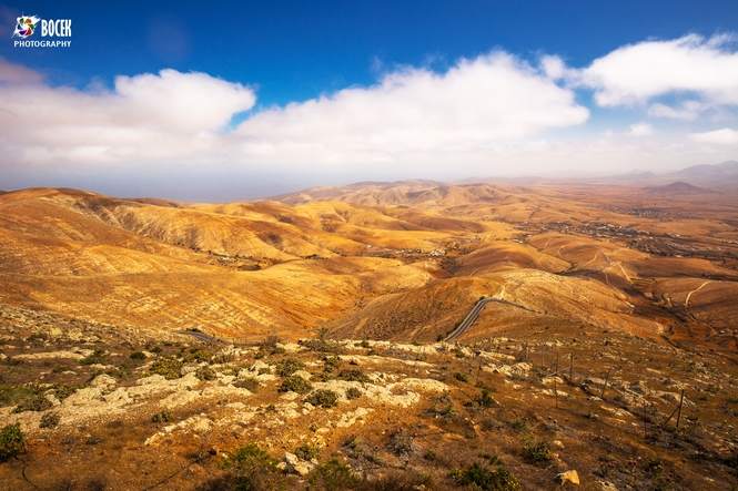 Beautiful view to vulcanic landscape of Fuerteventura  Island fr